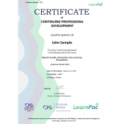 Mental Health, Dementia and Learning Disabilities - Online Training Course - CPD Certified - LearnPac Systems UK -