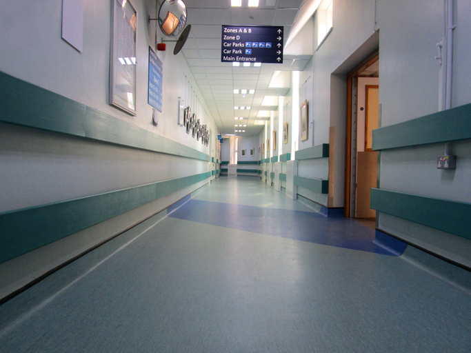 Image of NHS Hospital Corridor, leading to medical treatment rooms